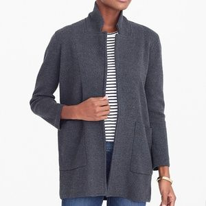 J Crew Open Front Sweater Blazer Charcoal Gray M